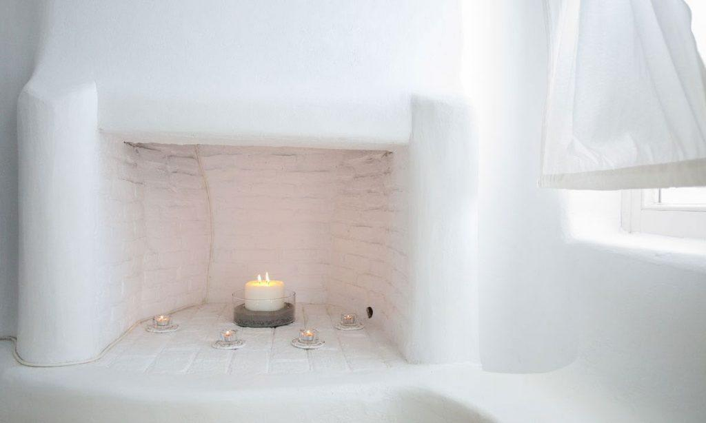 Villa Ida, Super Paradise, Mykonos, Fireplace, Candels, Flame, Curtains, White wall, Window