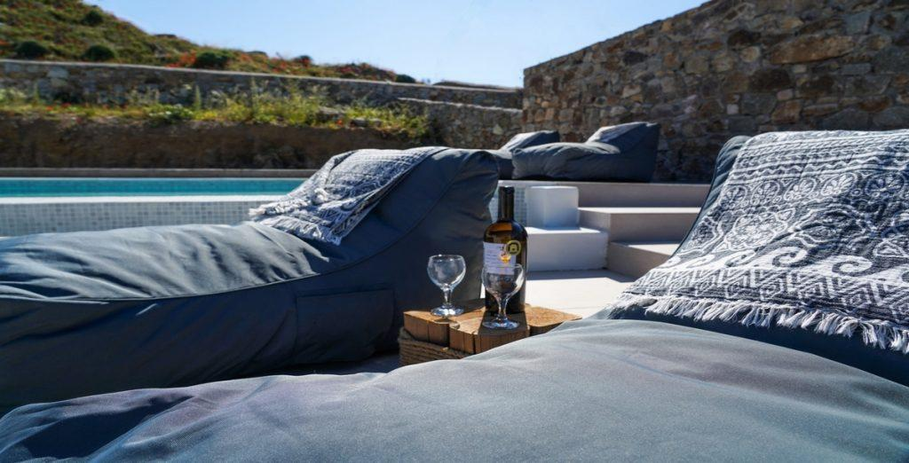 outdoor area with climbers and pillow with lots of nice little details