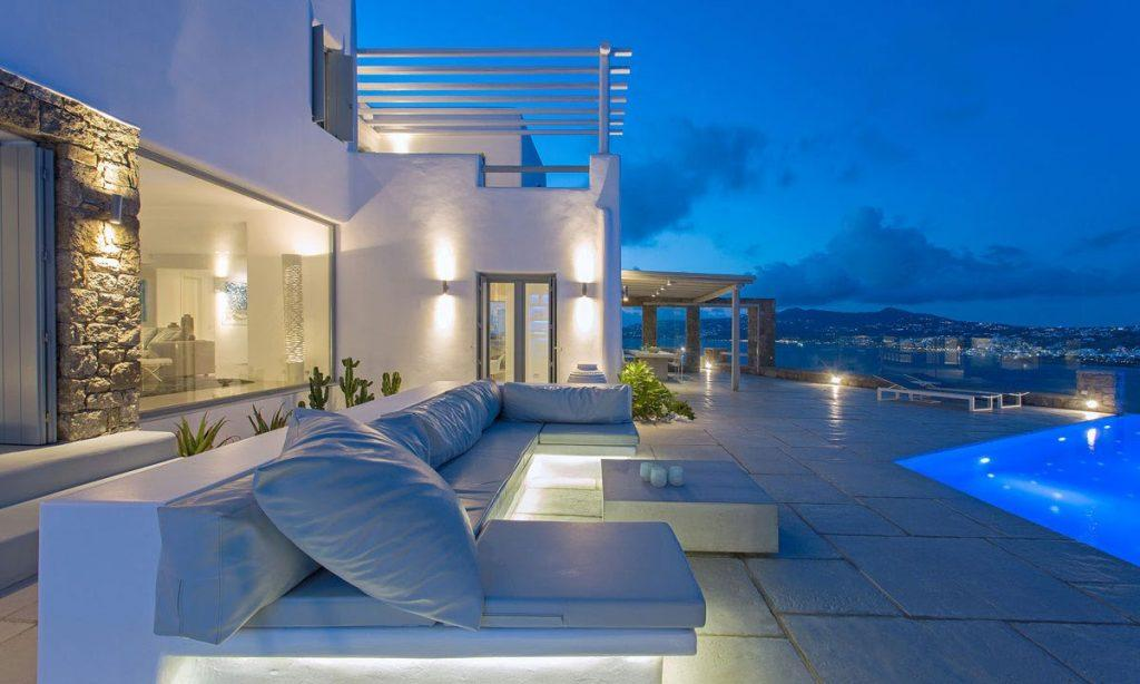 white illuminated villa walls with spaces balcony