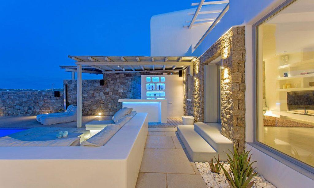 outdoor area with wall lamps and beautiful clear sky