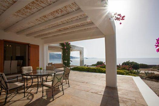 Villa-Lois_55.jpg Aleomandra Mykonos, outdoor, dining table, chairs, plants, tree, flowers, sea, sky, sun