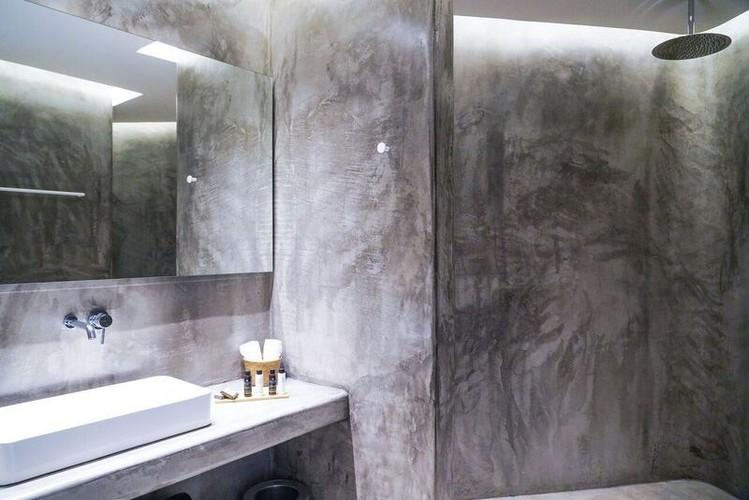 modern grey wall bathroom with shower and sink