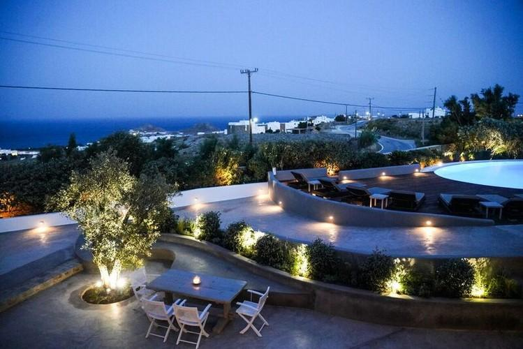 Villa_Gene_37-1.jpg Kalafatis Mykonos Outdoor, road, table, chairs, lamp, pool, climbers