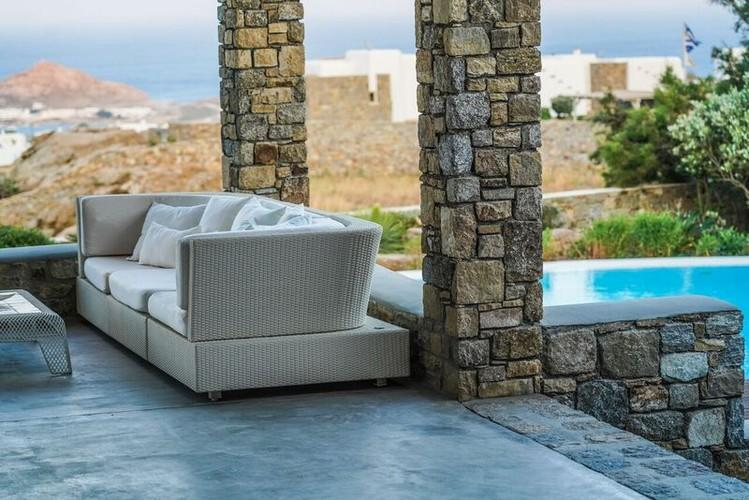 Villa_Gene_91-1.jpg Kalafatis Mykonos Outdoor, bed, pillows, pool, stairs, table