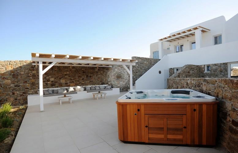 Villa_Lenard_17.jpg Panormos Mykonos Outdoor, jacuzzi, villa, bench, pillows