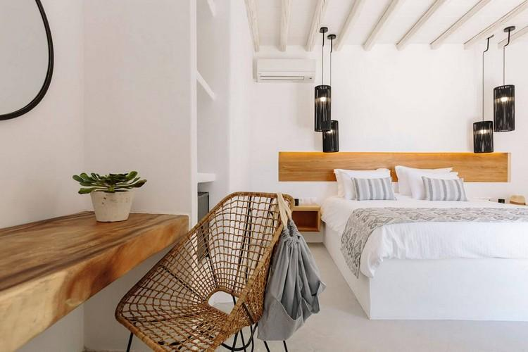 Villa_Lulu_07.jpg Panormos Mykonos 1st Bedroom, double bed, pillows, hat, night table, lamp, air condition