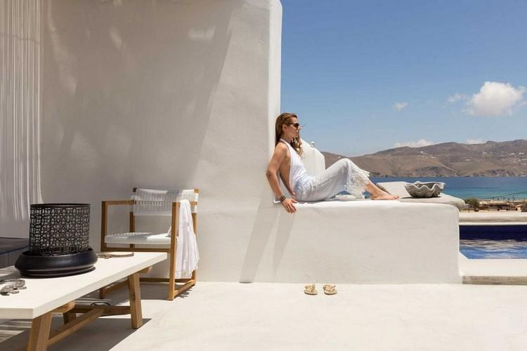 Villa_Lulu_08.jpg Panormos Mykonos Outdoor, girl, pool, sea, sky, hill, table, chairs