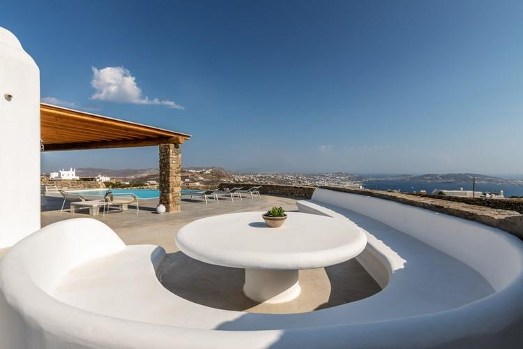 Villa_Madona_02.jpg Tourlos Mykonos Outdoor, bench, table, pool, climbers
