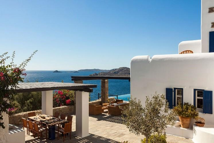 white wall villa with blue window frames and beautiful clear sky