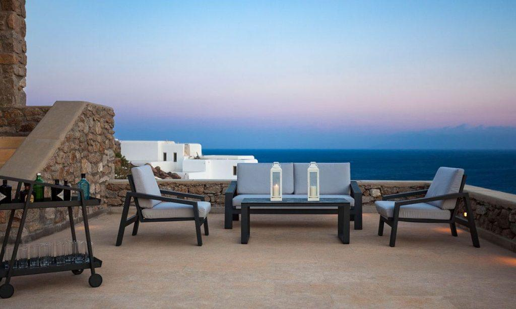 Villa-Agda_13.jpg Agios Ioannis Mykonos, balcony, chairs, sofa, table, drinks, sea, sky