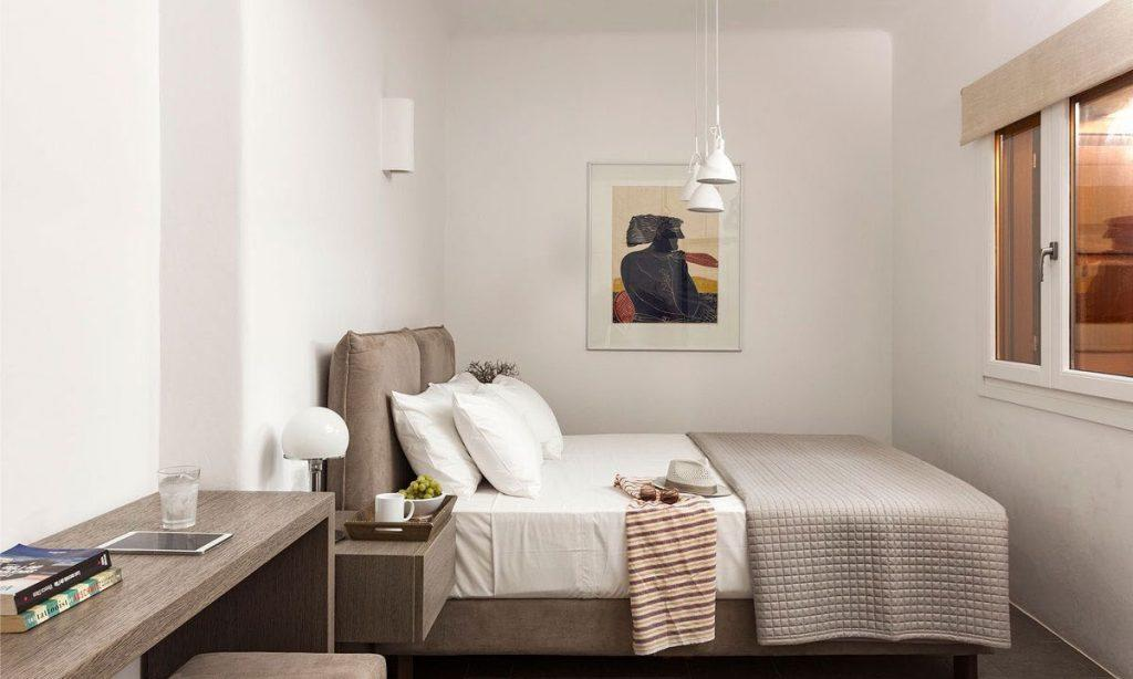Villa-Agda_37.jpg Agios Ioannis Mykonos, bedroom, sunglasses, hat, double bed, window, painting, glass, nightstand