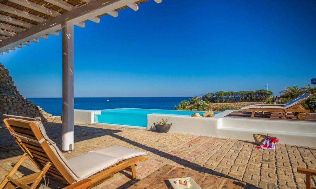 Villa Aggie I Paraga Mykonos, Outdoor View, Pool, Terrace, Sunbeds, Sea view, Plants