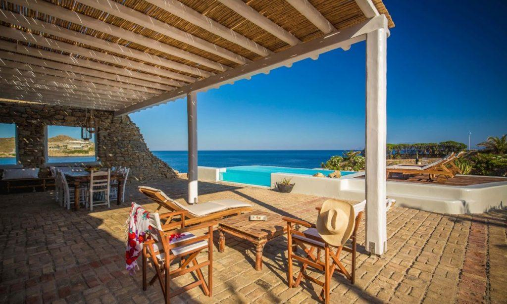 Villa Aggie I Paraga Mykonos, Outdoor View, Pool, Sea view, Terrace, Tabels, Chairs, Sunbeds
