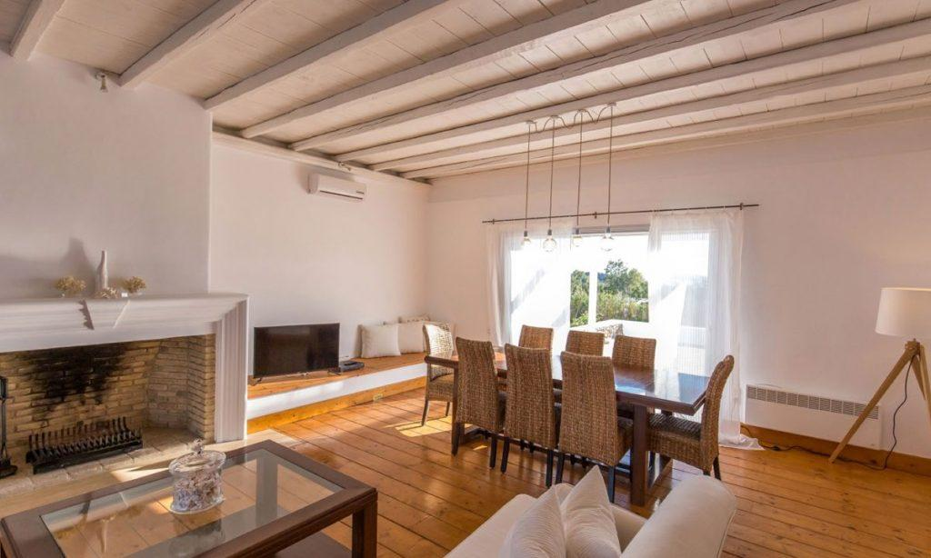 Villa Aggie I Paraga Mykonos, Tabel, Chairs, Dining room, Lamp, Sofa, Fireplace, Flat screen TV