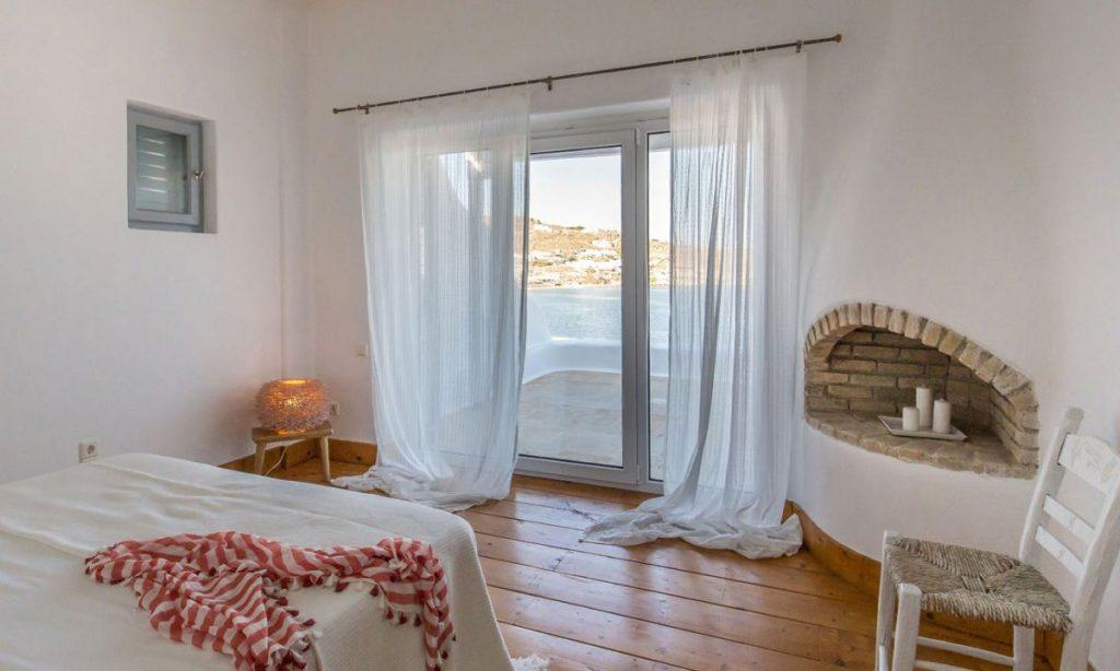 Villa Aggie I Paraga Mykonos, Fireplace, Sea view, Bed, Chair