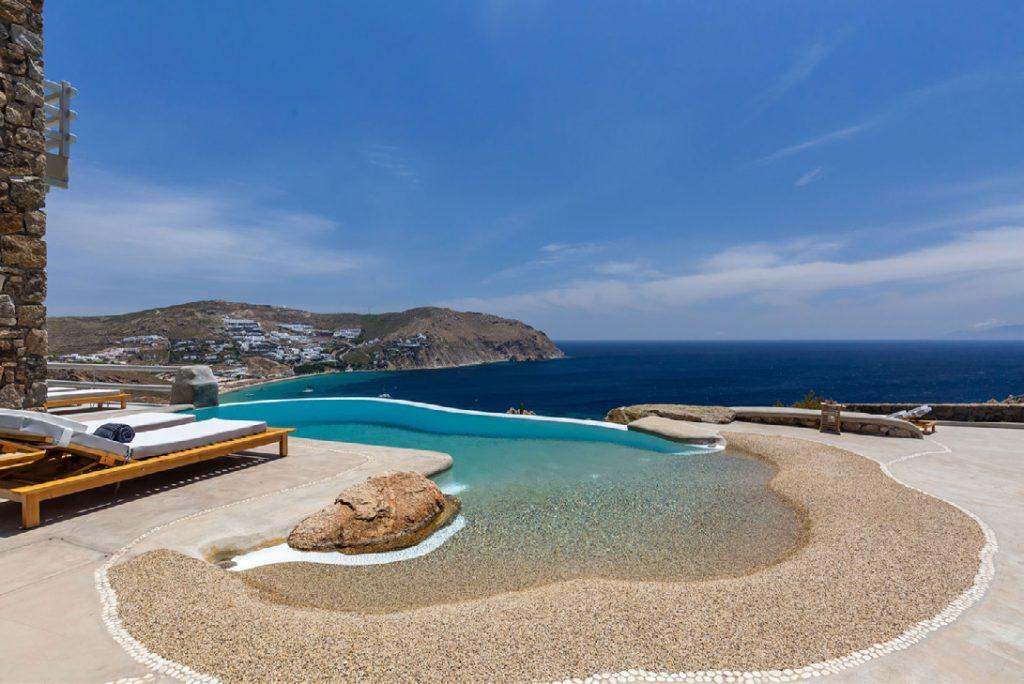 Villa-Camelia_05.jpg Agrari Mykonos, outdoor, pool, climbers, sky, sea, clouds