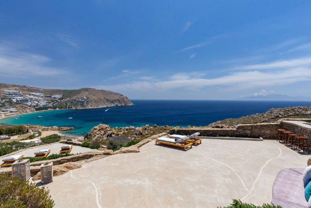 Villa-Camelia_09.jpg Agrari Mykonos, outdoor, climbers, sea, sky, clouds, high chairs, bar