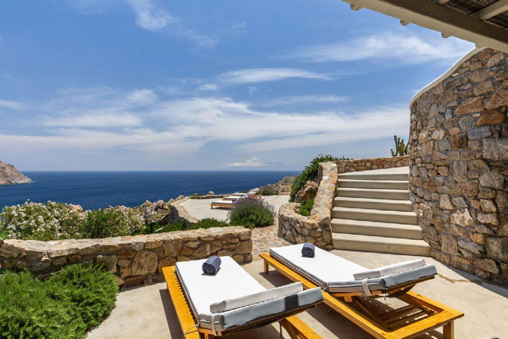 Villa-Camelia_18.jpg Agrari Mykonos, outdoor, climbers, towels, sea, sky, clouds, stairs