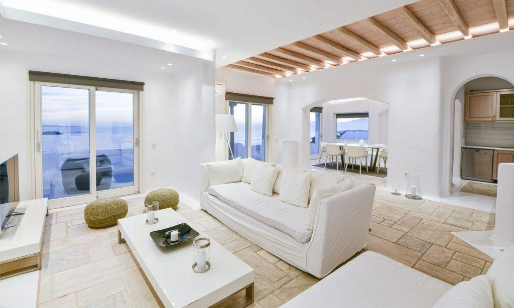 Villa Gael I Chora, Mykonos, Outdoor view, A/C, Fireplace, Table, Sofas