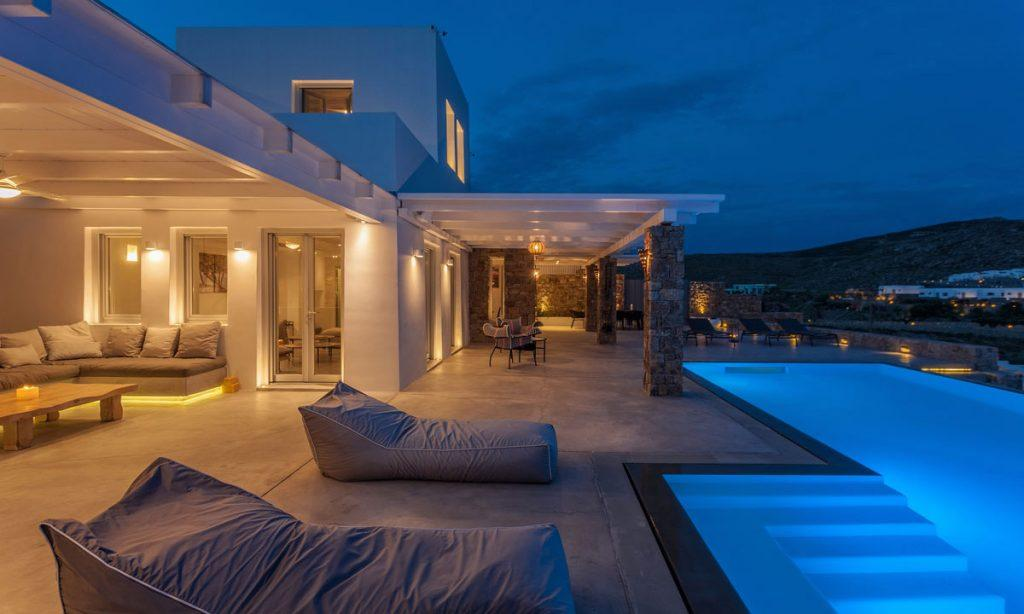 Villa-Paige-_23.jpg Elia Mykonos, outdoor, night, pool, lights, sun beds