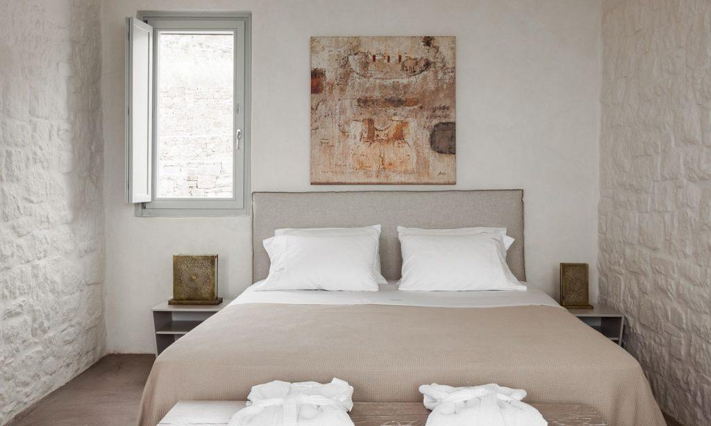 Villa-Paige-_32.jpg Elia Mykonos, 2nd bedroom, king size bed, pillows, painting, nightstands, robes