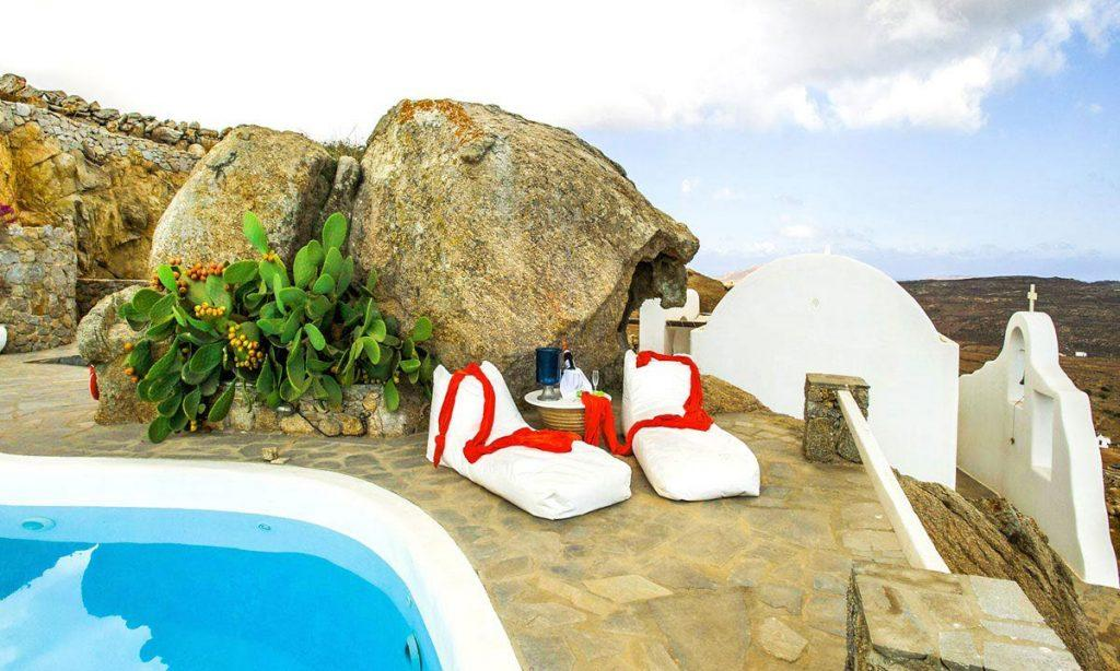 Villa-Ramsey-_07.jpg Halara Mykonos, outdoor, sun beds, pool, sky, clouds, island