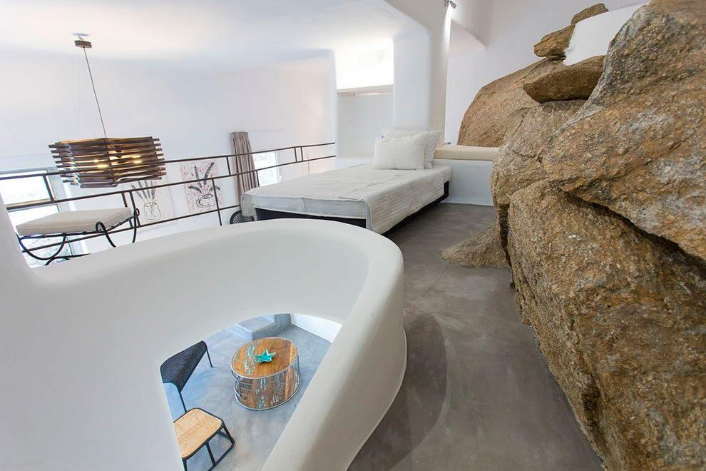 Villa-Ramsey-_27.jpg Halara Mykonos, 6th bedroom, bed, pillows, stone wall