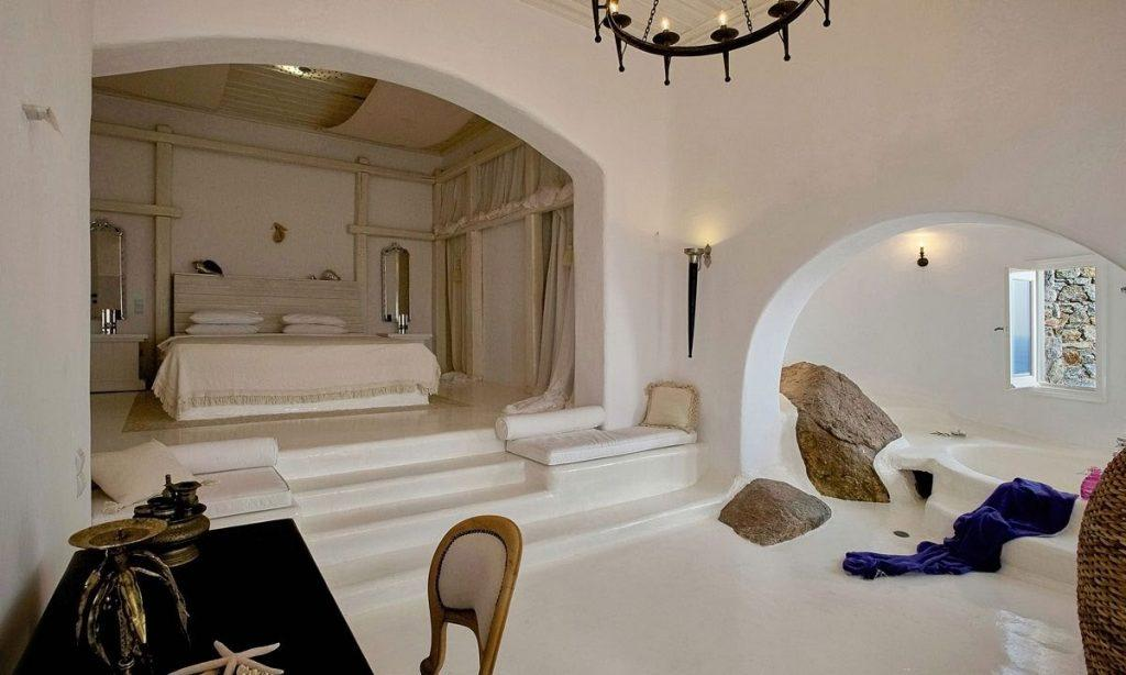 Villa-Ramsey-_30.jpg Halara Mykonos, 4th bedroom, king size bed, sofa, pillows, bathtub, desk, chair