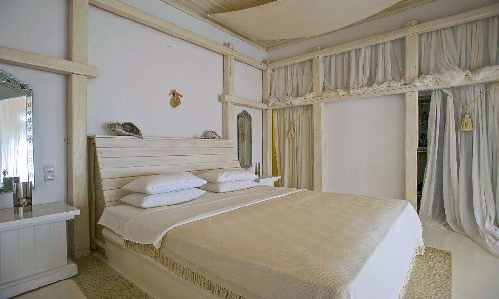 Villa-Ramsey-_31.jpg Halara Mykonos, 4th bedroom, king size bed, pillows, blanket, curtains, nightstands, mirror