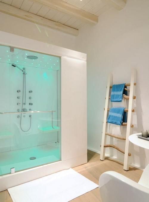bathroom with modern glass illuminated shower