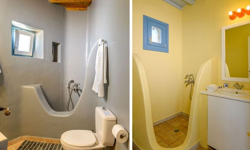 two types of bathrooms of different color walls with shower