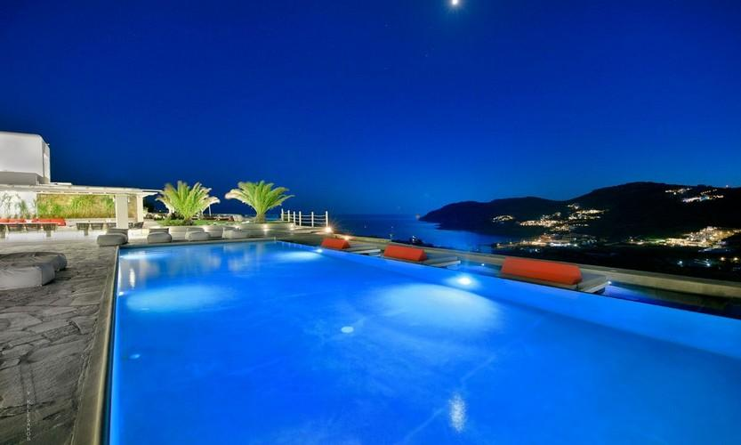 Villa Megan I Kalo Livadi Mykonos, Outdoor View, Pool, Terrace, Lazy bag, Palms