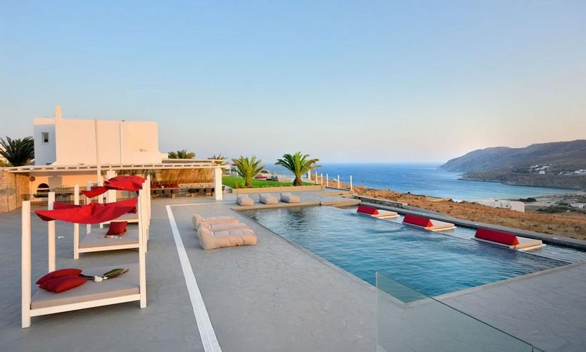 Villa Megan I Kalo Livadi, Mykonos, Outdoor view, Sea view, lazy bags, Pool, Palm