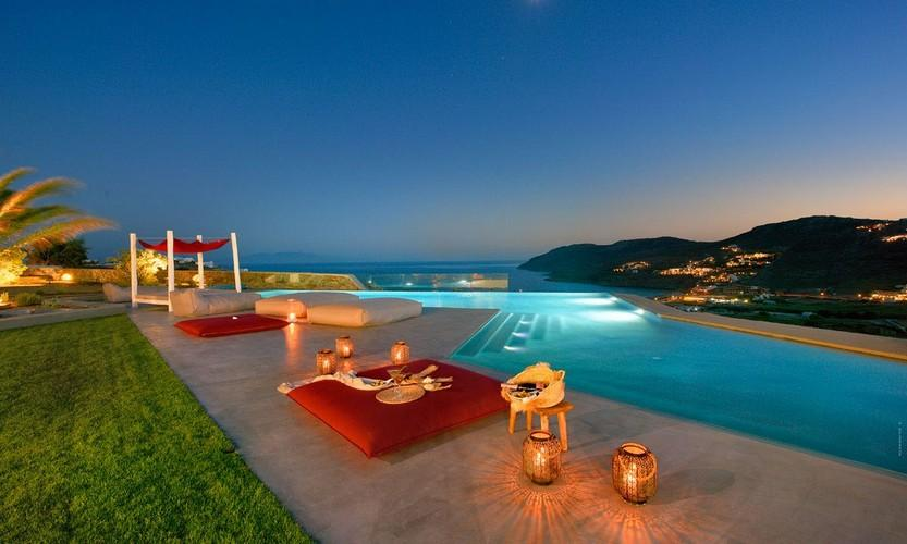 Villa Megan I Kalo Livadi, Mykonos, Outdoor View, Terrace, Lazy bag, Sea view, Palm, Champagne
