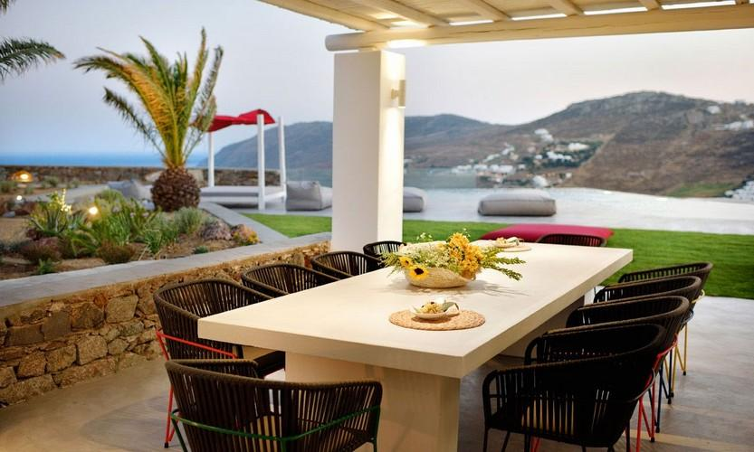 Villa Megan I Kalo Livadi Mykonos, Outdoor View, Terrace, Lazy bag, Sea view, Table, Chairs, Palm