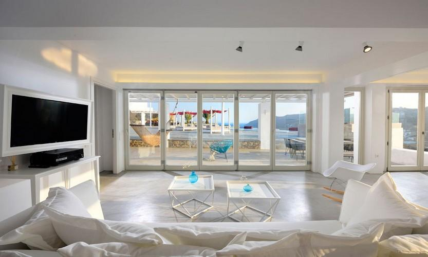 Villa Megan I Kalo Livadi, Mykonos, Outdoor view, Tables, Hammock, Sofa, Flat screen TV