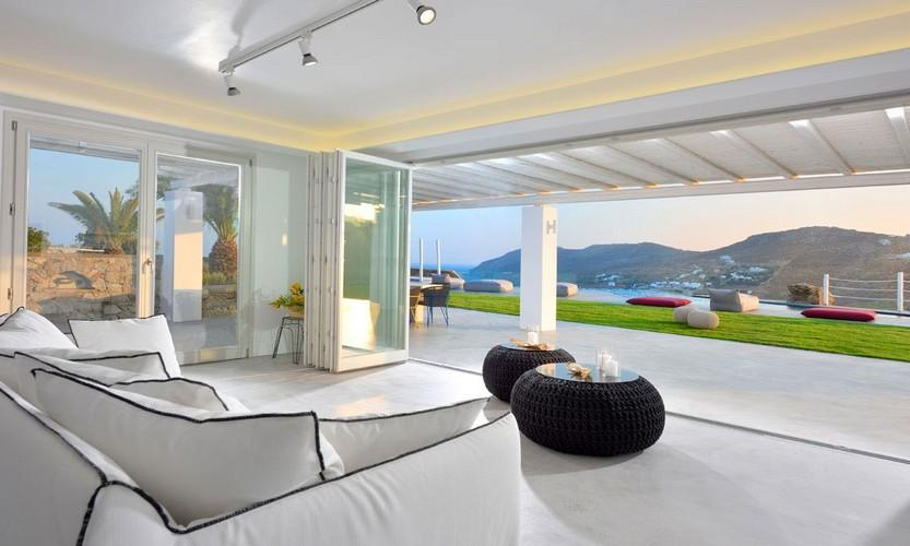 Villa Megan I Kalo Livadi, Mykonos, Outdoor view, Tables, Sofa, Sea view