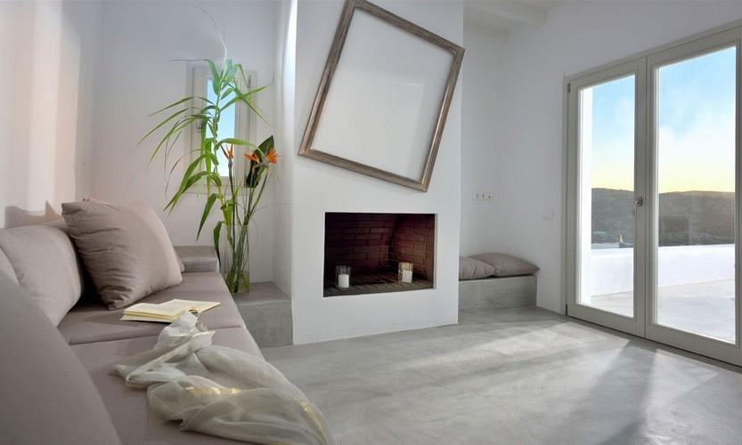 Villa Megan I Kalo Livadi, Mykonos, Living room, Outdoor view, Fireplace, Sofa, Plant