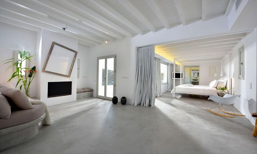 Villa Megan I Kalo Livadi, Mykonos, Living room, Master bed, Fireplace, Sofa, Plant