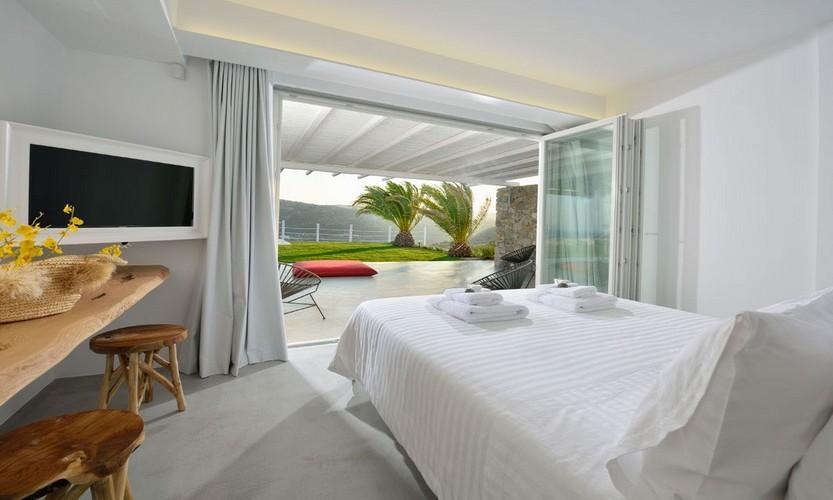 Villa Megan I Kalo Livadi, Mykonos, Outdoor view, Sea view, Master bed, Flat screen TV
