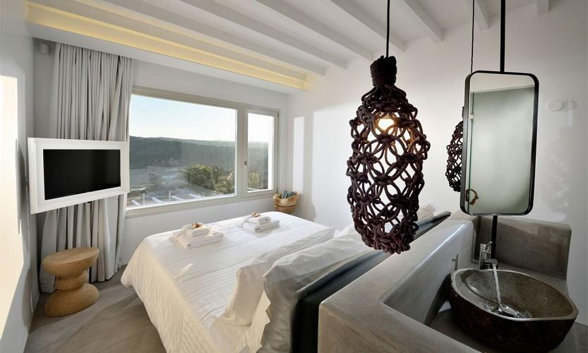 Villa Megan I Kalo Livadi, Mykonos, Outdoor view, Sea view, Master bed, Flat screen TV, Mirror, Sink