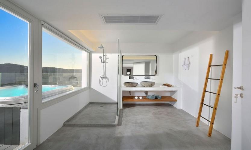 Villa Megan I Kalo Livadi, Mykonos, Pool, Stairs, Bathroom with view, Mirror, Jacuzzi