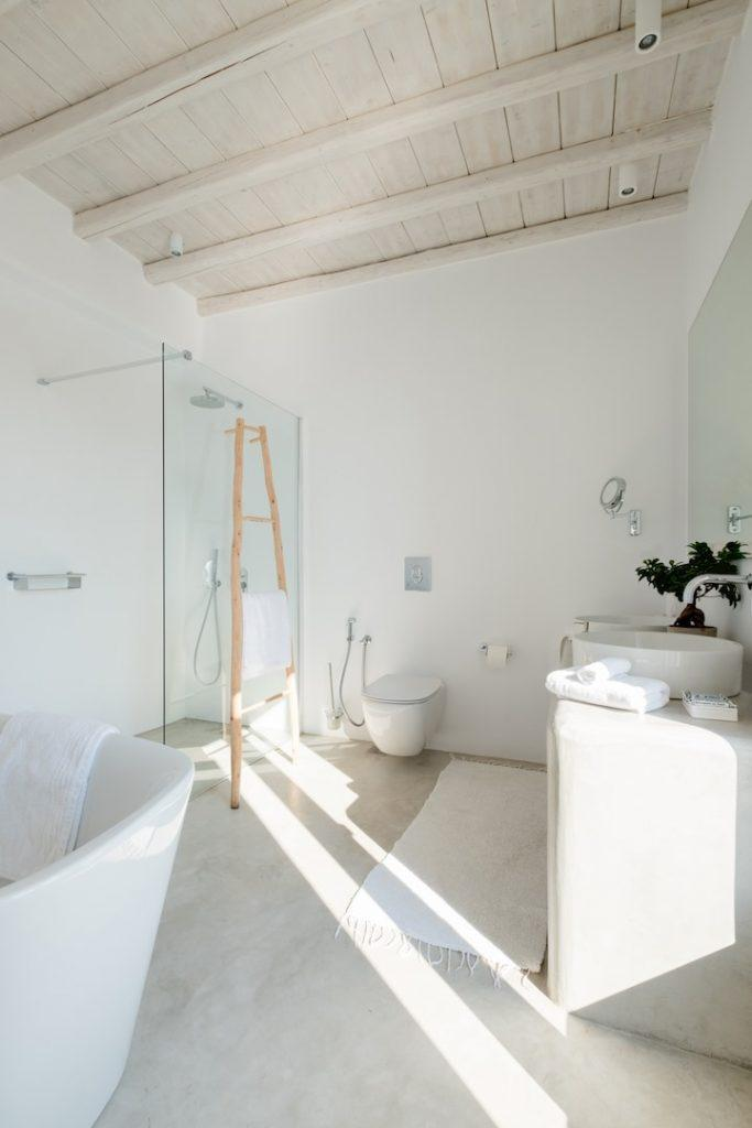 bathroom with ladder laying on shower glass door