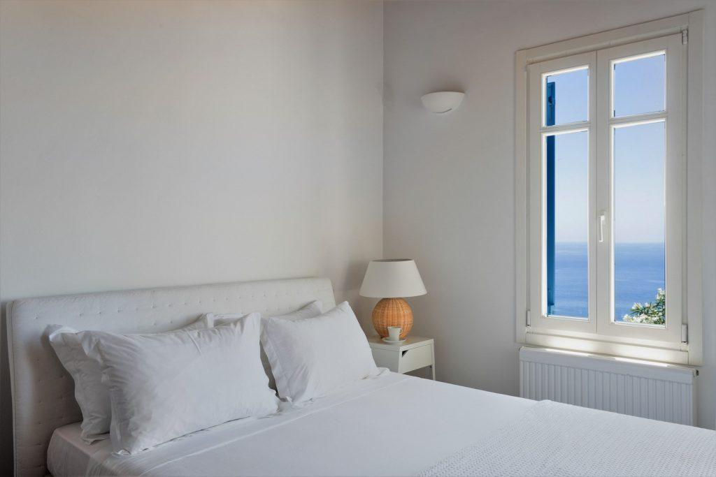 Villa Jongos, Agios Lazaros, Mykonos, Sea, Sea view, Outdoor view, Windows, Lamp, Pillows, Bed, Light, Table