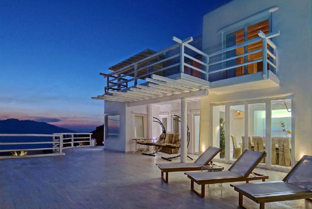 white wall villa with sensational view of nightfall