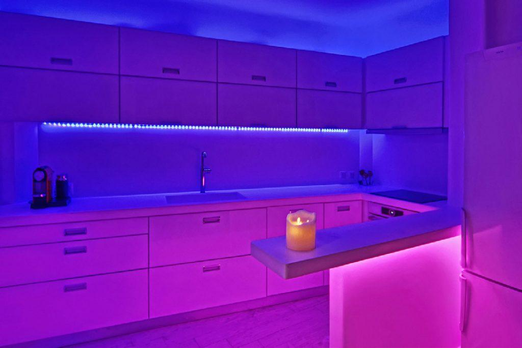 modern style kitchen with led lights