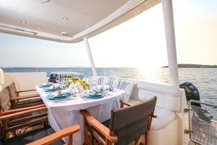 Yacht_Noe_30.jpg Mykons Outdoor Dining area, table, chairs, plate, sky