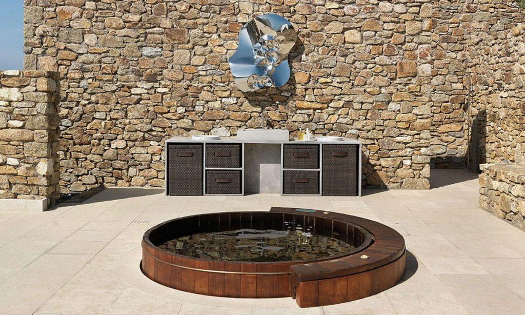 Villa Raisa Super Paradise Mykonos, outdoor, jacuzzi, drawers, washstand, stone wall