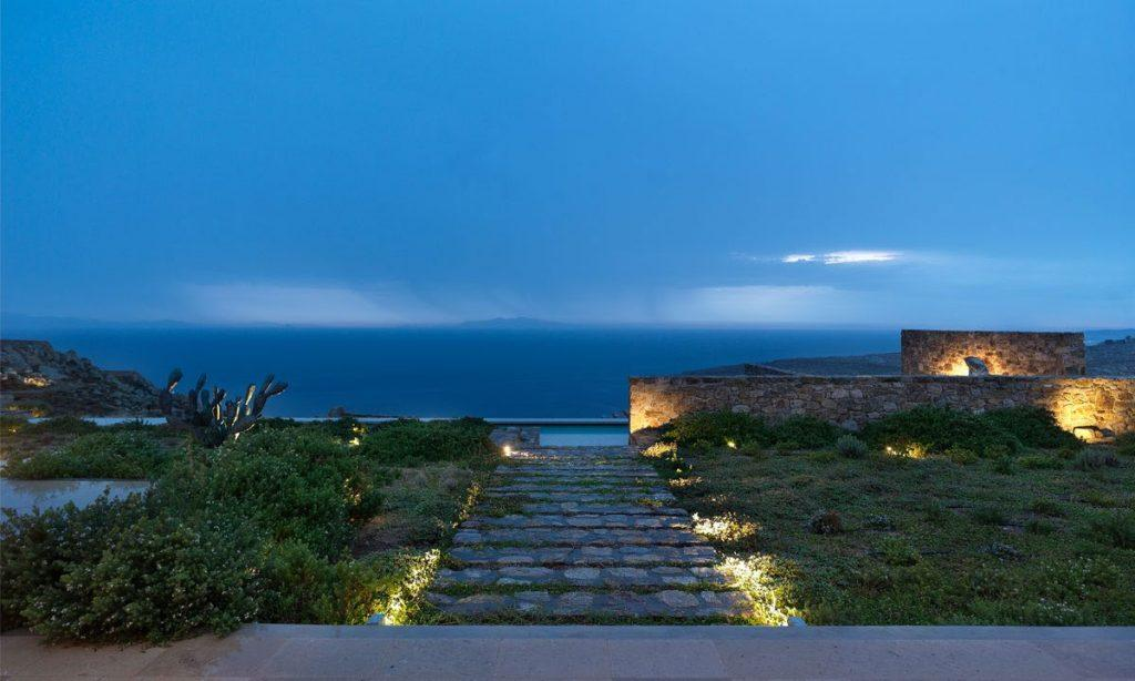 Villa Raisa Super Paradise Mykonos ,outdoor, night ,lights, steps, sky, sea, clouds, panoramic view