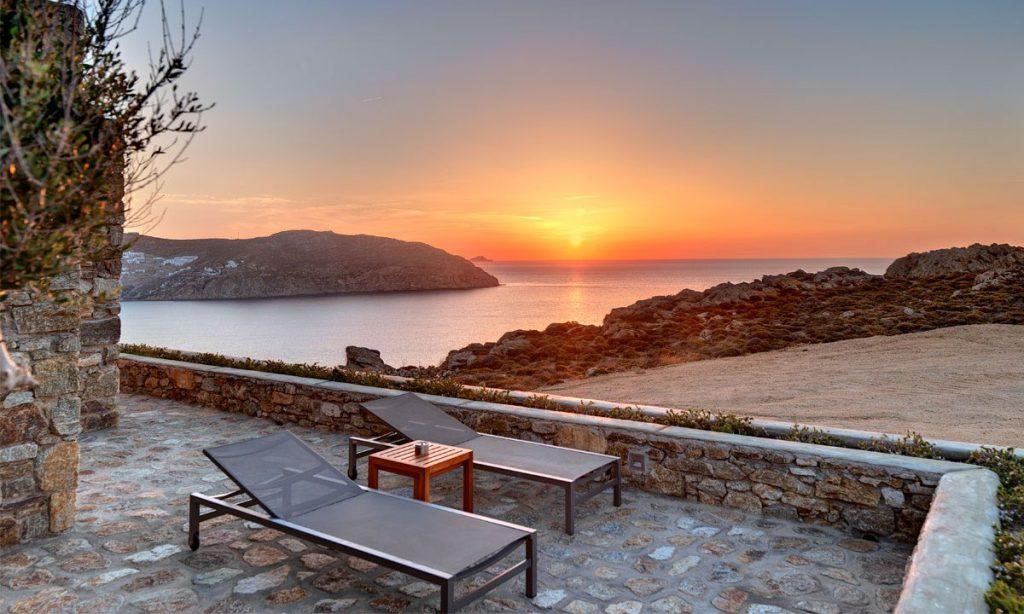 Villa Raisa Super Paradise Mykonos, outdoor, climbers, table, sun, sea, sky, horizon
